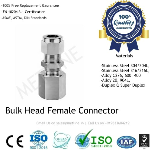 Bulk Head Female Connector Manufacturers, Suppliers, Factory - Instrumentation Tube Fittings