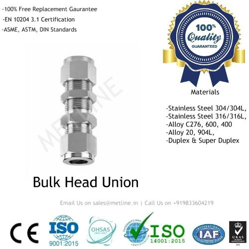 Bulk Head Union Manufacturers, Suppliers, Factory - Instrumentation Tube Fittings