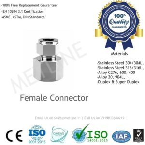 Female Connector Manufacturers, Suppliers, Factory - Instrumentation Tube Fittings