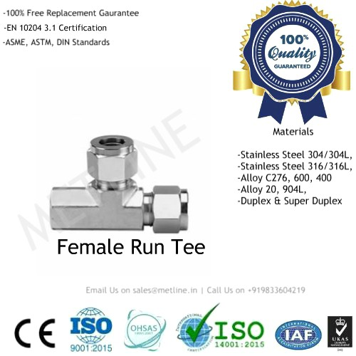 Female Run Tee Manufacturers Suppliers Factory - Instrumentation Tube Fittings