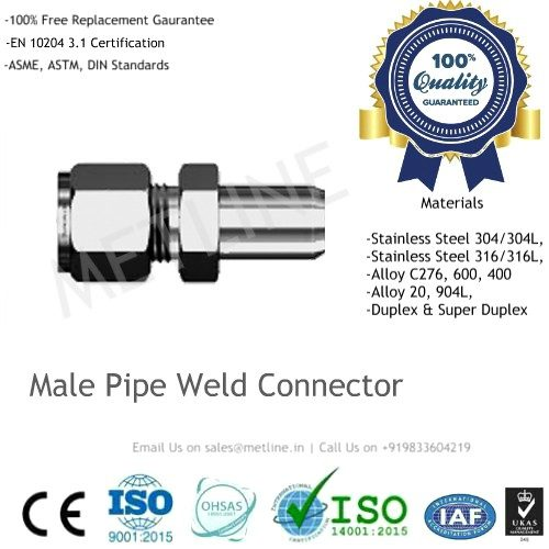 Male Pipe Weld Connector Manufacturers, Suppliers, Factory - Instrumentation Tube Fittings