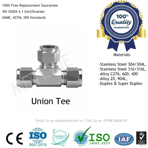 Union Tee Manufacturers, Suppliers Factory Instrumentation Tube Fittings